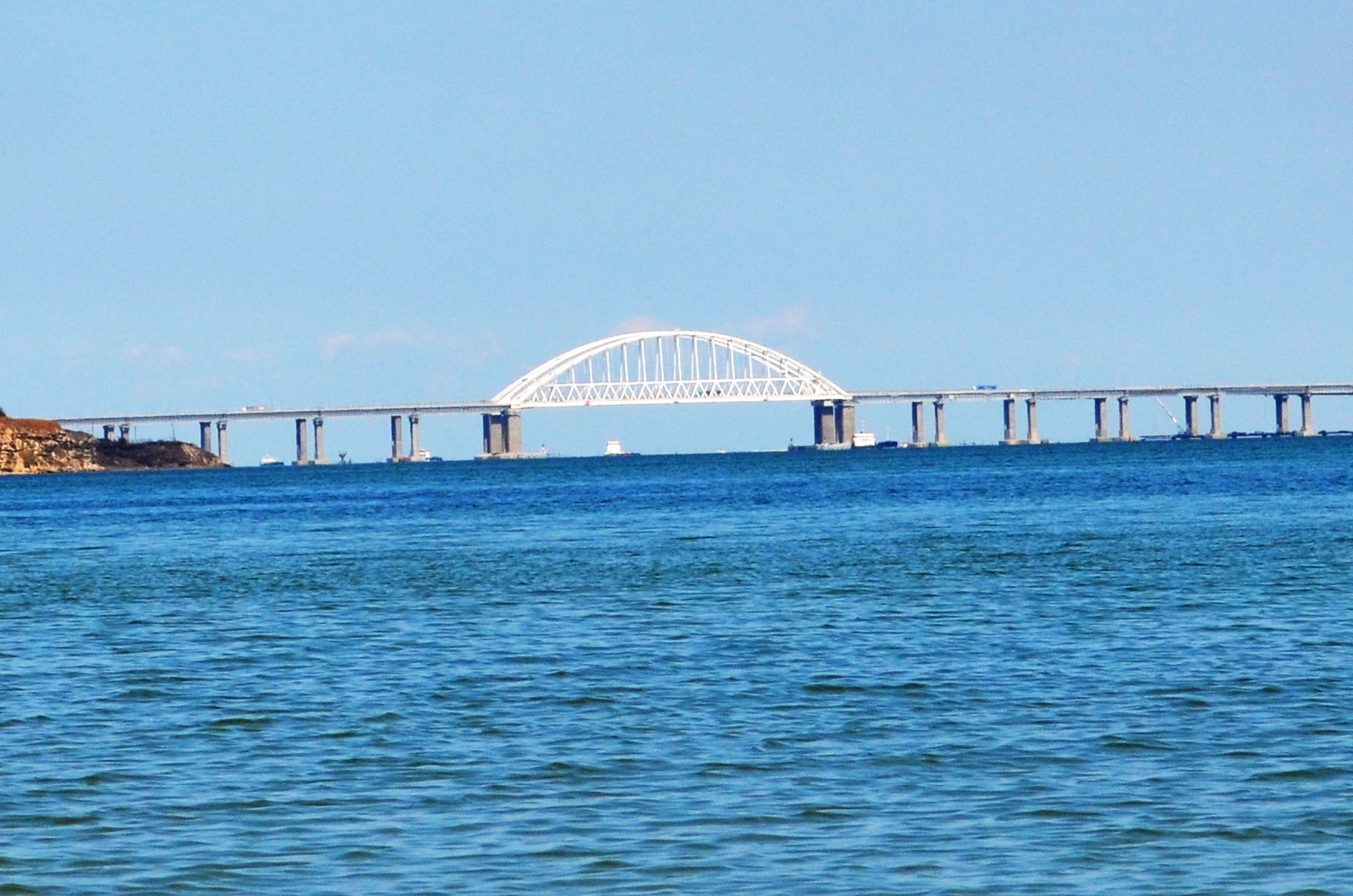 Crimean bridge view from the beach